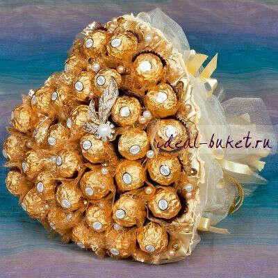 """Букет из конфет К150 """"Золотое сердце"""""""