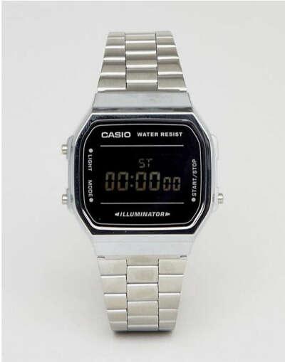 цифровые часы Casio (серебристый/черный/зеркальный) A168W