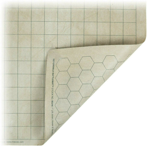Chessex Role Playing Play Mat: Battlemat Double-Sided Reversible Mat for RPGs and Miniature Figure Games (26 in x 23 1/2 in) Squares/Hexes