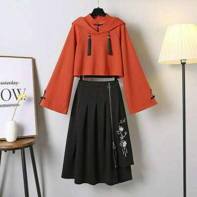 Tassel Hoodie Vintage Sweatshirt Skirt Set