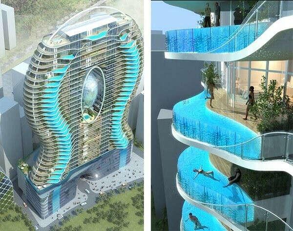 В отель с бассейном на балконе в Мумбаи