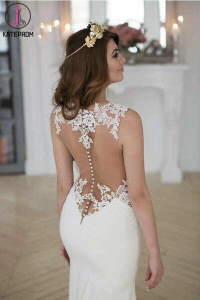 Kateprom Lace Stunning Mermaid Sleeveless Wedding Dress Zipper Button KPW0594