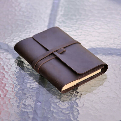 Refillable Leather Journal, Refillable Sketchbook, Notebook, Diary, Book Cover, Customizable, Classic, Brown, A5, Gift For Him/Her