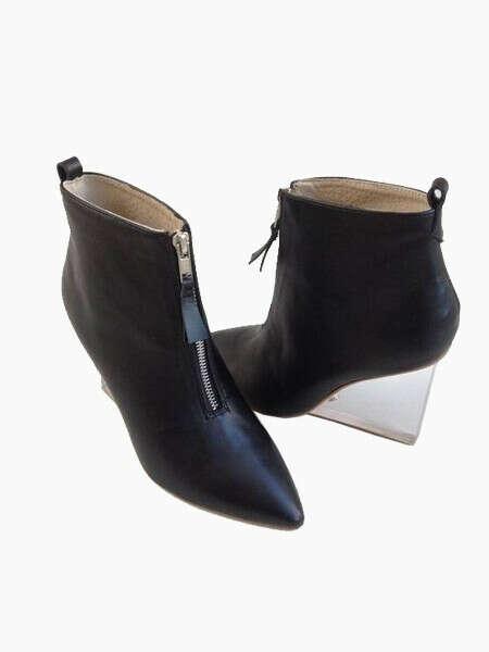 Zipper Wedge Heel Boots With Transparent Heels - Choies.com