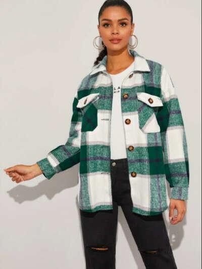 Куртка-рубашка в клетку oversize