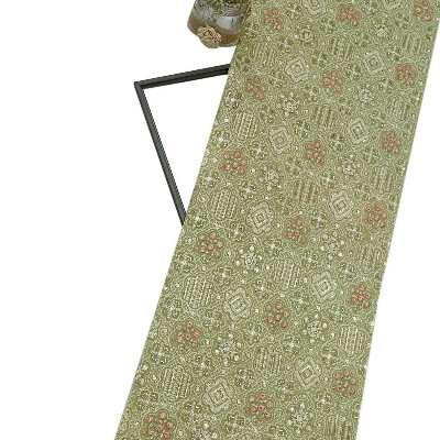 Olive Green Georgette Fabric Lucknowi & Resham Work With Sequin