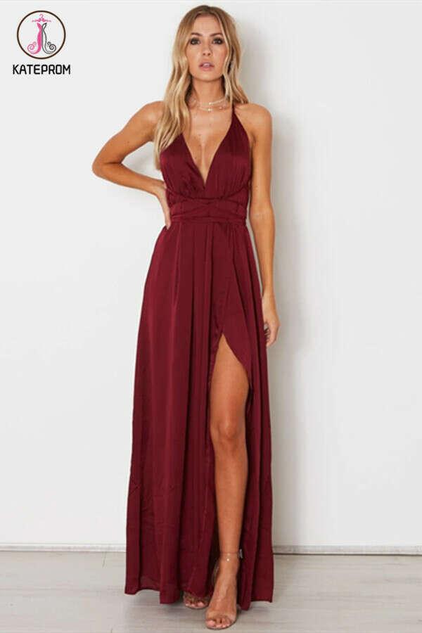 Kateprom 2021 A-line Custom Spaghetti Straps Prom Dresses Burgundy Long Prom Dresses Evening Dress KPP1343