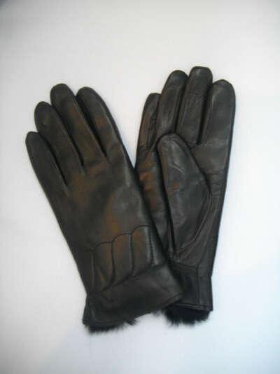 Кожаные женские перчатки с мехом внутри