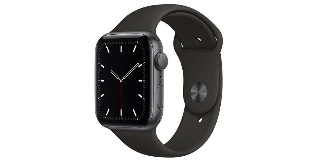 AppleWatchSE GPS, 44мм, алюминий цвета «серый космос», спортивный ремешок чёрного цвета, размерR (стандартный)