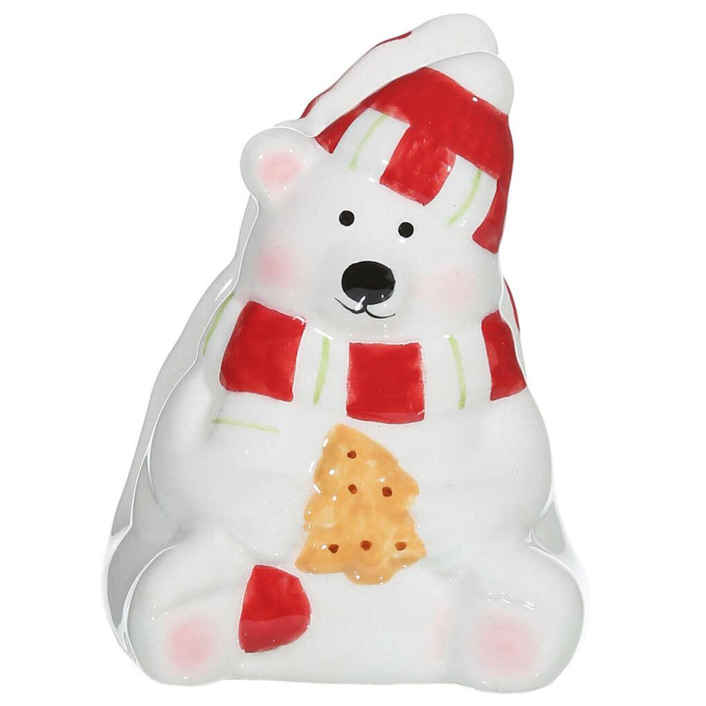 (S)(НГ)Салфетница, 9 см, керамика, Медведь, Подарки Санты
