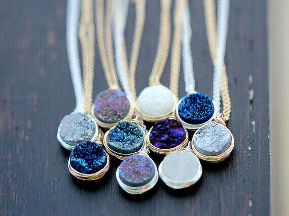 Druzy Bezel Pendant Necklace, Sterling Silver, Gold or Rose Gold, Titanium Agate Quartz Gemstone Fashion