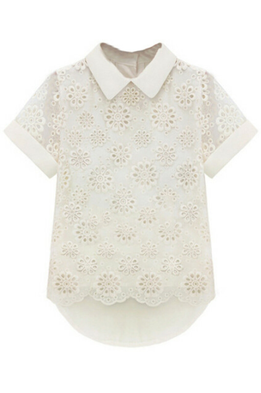 Lace Asymmetric Floral Emboidered White T-shirt