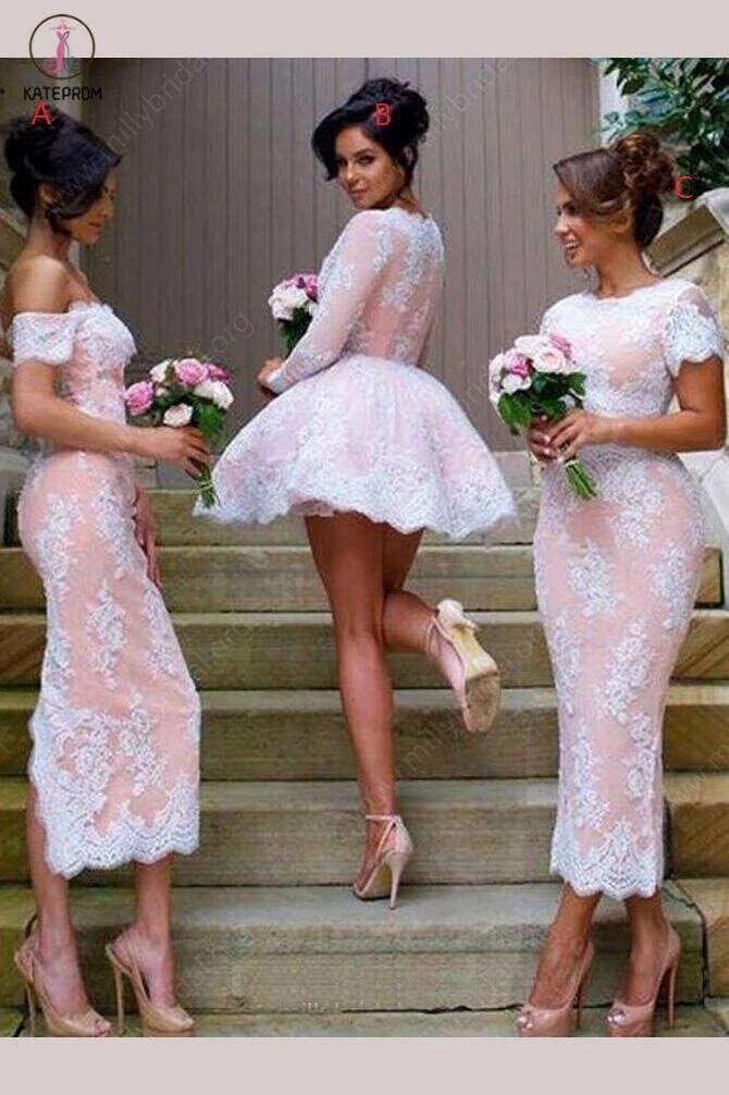 Short A-line V-neck Tulle Appliques Lace Long Sleeve Unique Bridesmaid Dresses KPB0023