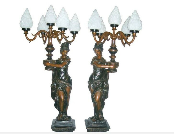 Pair of Ladies in Roman Dresses Floor Lamps
