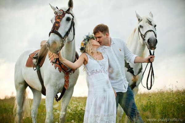 Фотосессия с лошадьми на 5 лет свадьбы