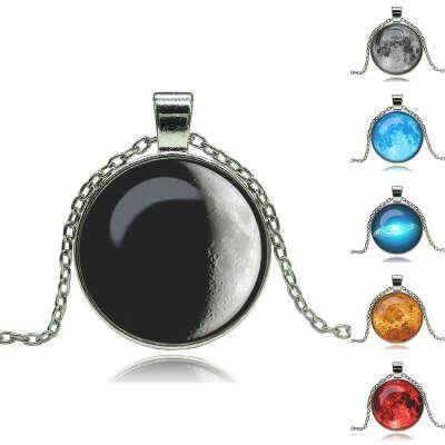 Мода старинные галактика искусстве стекло кабошон ожерелье луна подвеска античная ожерелья и кулоны ювелирные изделия купить на AliExpress