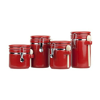 Home Basics 4 Piece Ceramic Spoon Airtight Set, Food Storage Container for Kitchen Counter, Sugar, Coffee, Canister, Red