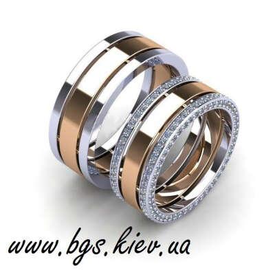 Необычные обручальные кольца в комбинированном золоте на заказ