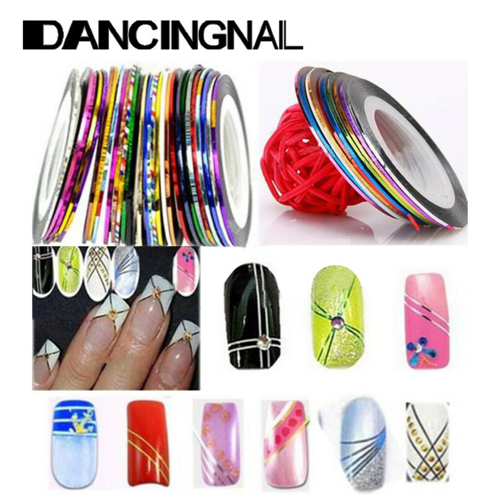 Free Shipping 12 rolls pack Multicolor Nails Striping liner Tape Line DIY Nail Art Tips Decoration Sticker-in Stickers & Decals from Health & Beauty on Aliexpress.com | Alibaba Group