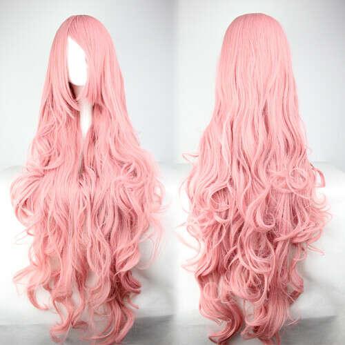 Длинный розовый парик