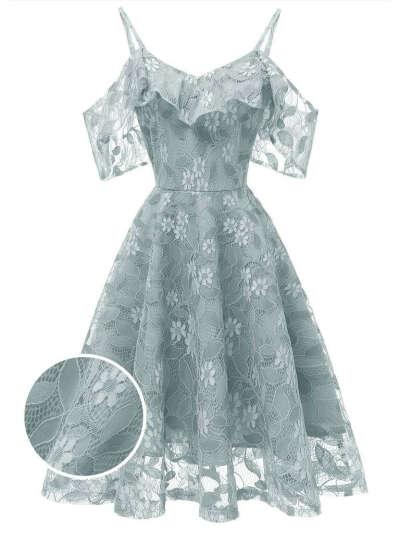 1950s Lace Cold Shoulder Ruffle Dress