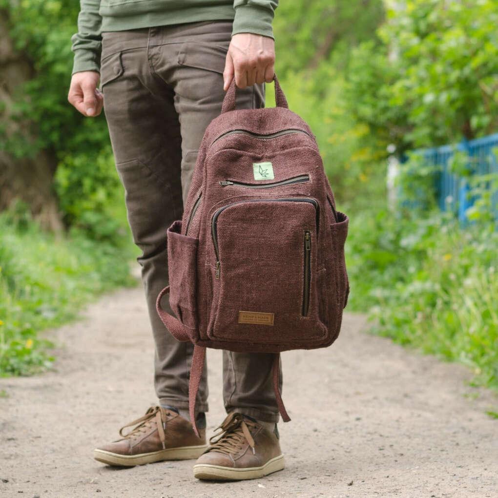 Рюкзак из конопли, коричневый