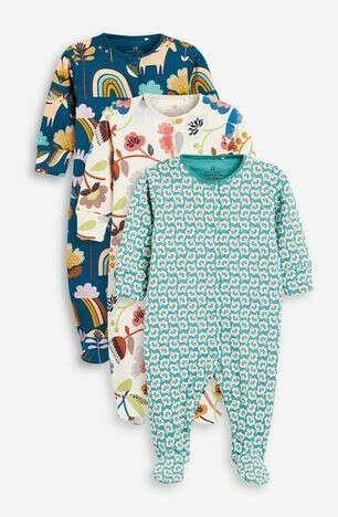 Слипы NEXT -  - 3 пижамы с цветочным принтом в стиле ретро (0 мес. - 2 лет)