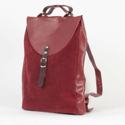 Винный небольшой рюкзак City из кожи и замши