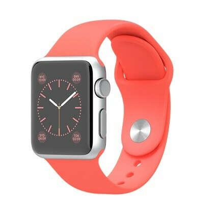 Apple Watch Sport - Корпус 38 мм, серебристый алюминий, коралловый спортивный ремешок