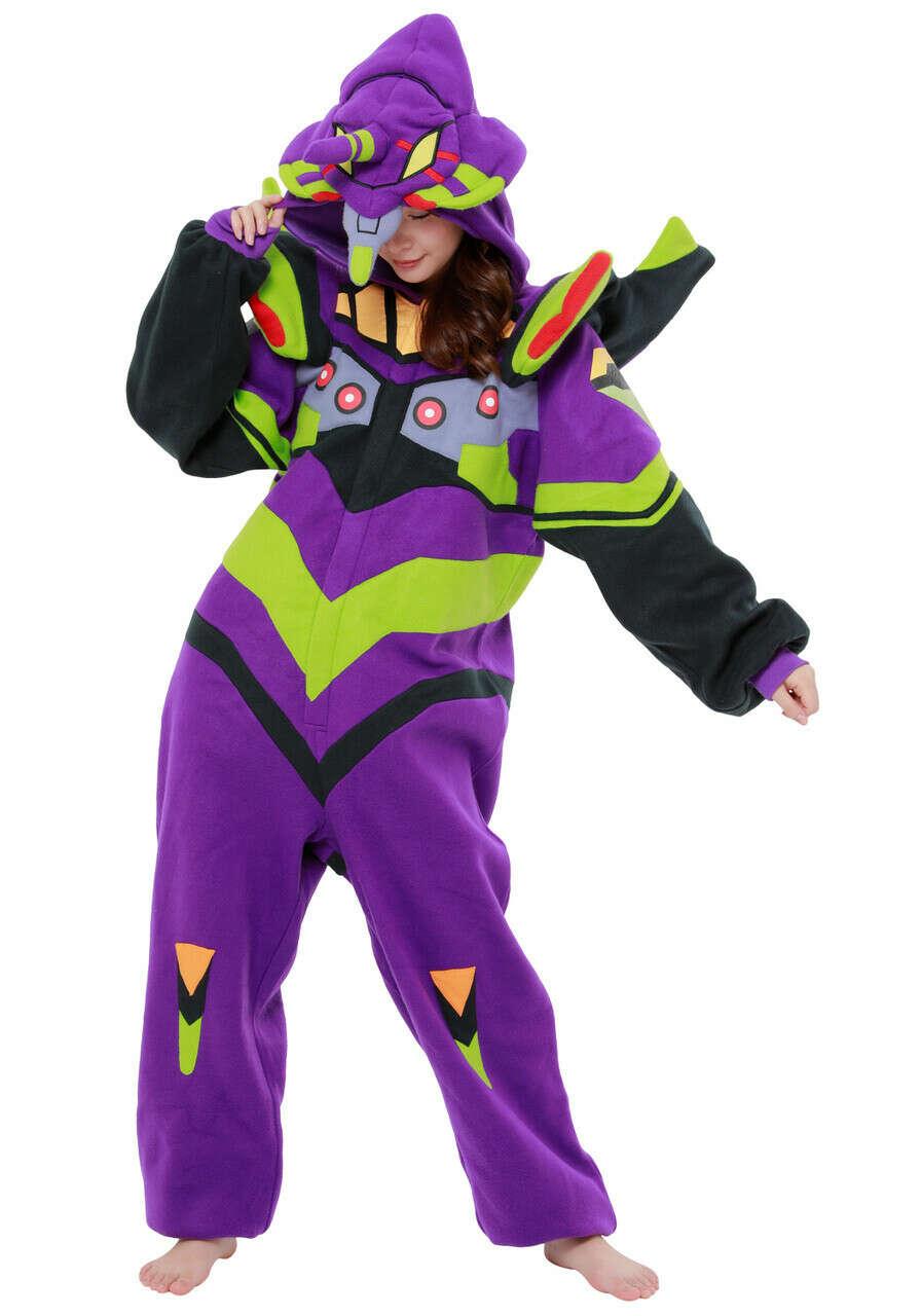 Evangelion Unit 01 Cosplay Pajamas Fleece Kigurumi At0205