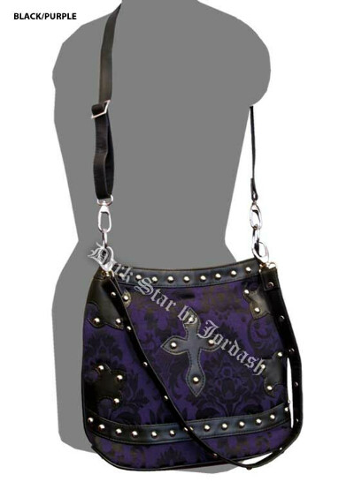 Dark Star Black and Purple Brocade Gothic PVC Cross Purse [DS/BG/7265P]