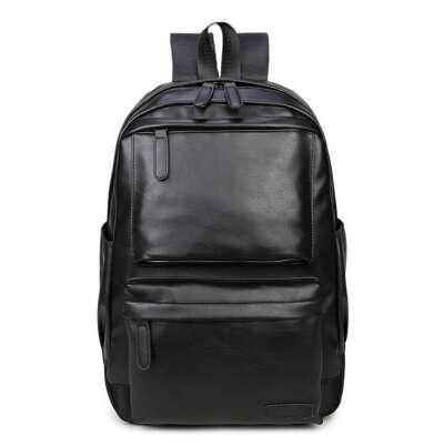 Чёрный кожаный рюкзак