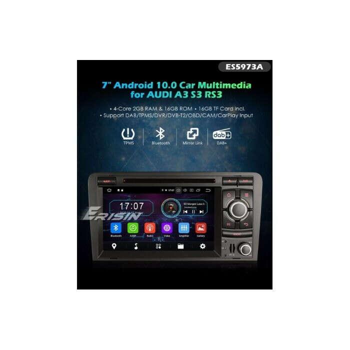 "ERISIN ES5973A 7"" ANDROID 10.0 CAR RADIO DVD GPS SYSTEM 4G TPMS DAB+ CARPLAY+ FOR AUDI A3"