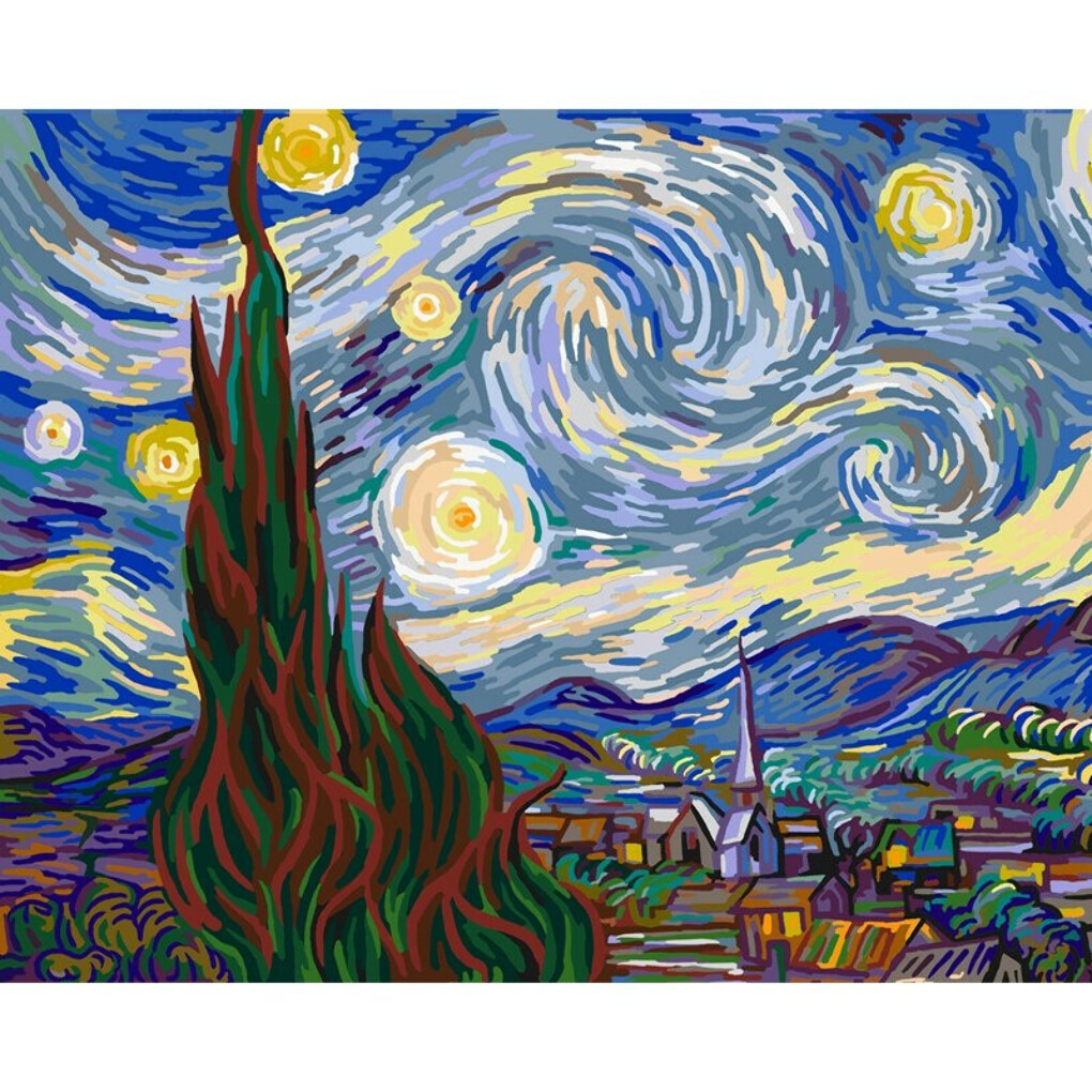 Starry Night - GeekoPicasso Paint-by-Number Kit - GeekoPlanet