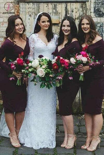 Knee Length Dark Purple Long Sleeve V Neck Sheath Bridesmaid Dress KPB0025