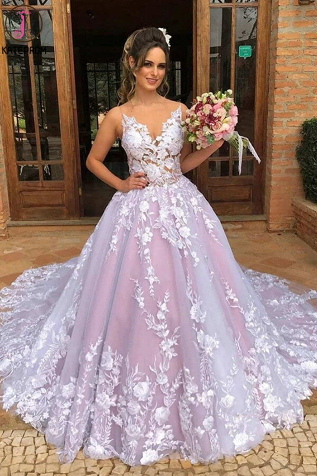 Kateprom A-line Sleeveless V Neck Tulle Appliques Pink Long Prom Wedding Gown KPW0627