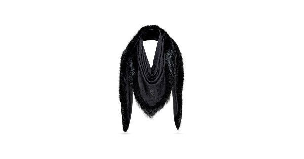 Louis Vuitton: Шаль с меховой отделкой Monogram V