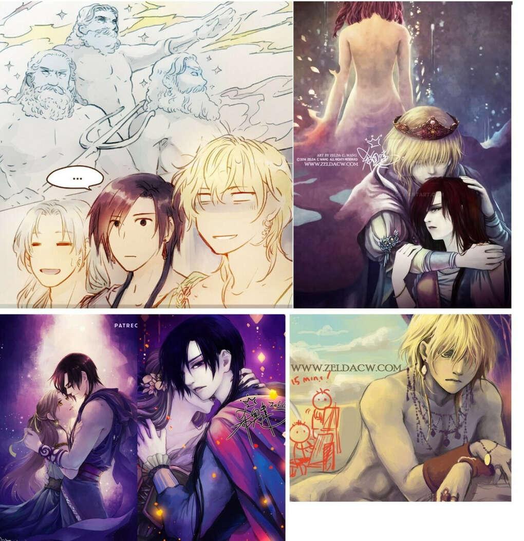 открытки/закладки с иллюстрациями Zelda Wang из «MYth»