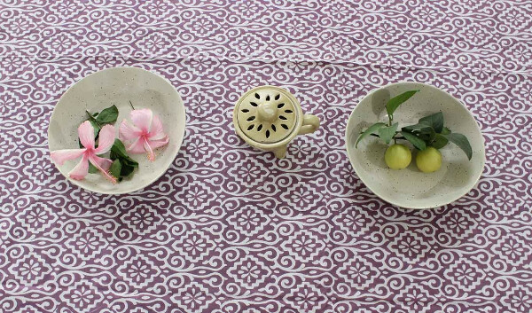 Majestic Wine Hand block Printed Cotton Six Seater Table Cover
