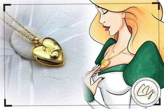 Лебединая принцесса - Принцесса Одетта Ожерелье Лебединое сердце Кулон Локет БЗ GRADEPhoto Bearer