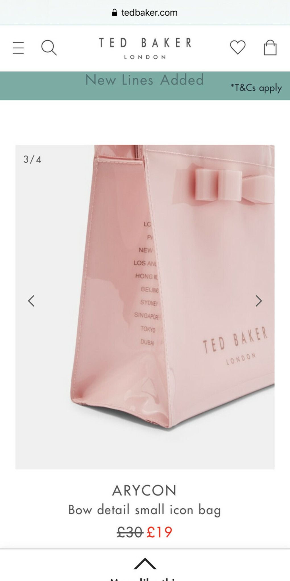 Ted Baker Bow detail small icon bag