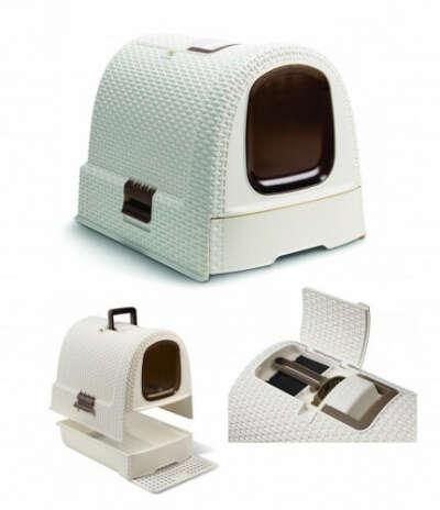 Curver PetLife Туалет-домик для кошек, кремово-коричневый, 51*39*40см