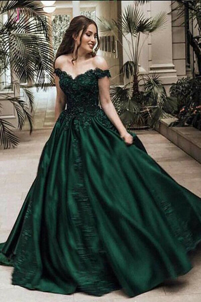 Dark Green Ball Gown Off-the-Shoulder Floor-Length Appliques Satin Prom Dresses KPP0442