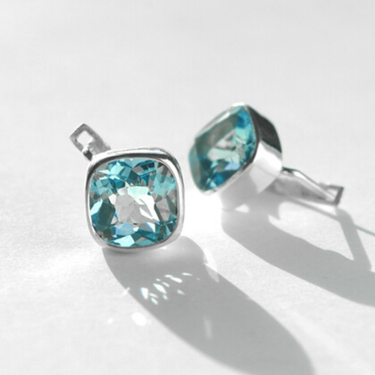 Серьги 'Blue Sky 2 ' с голубыми топазами серебряные