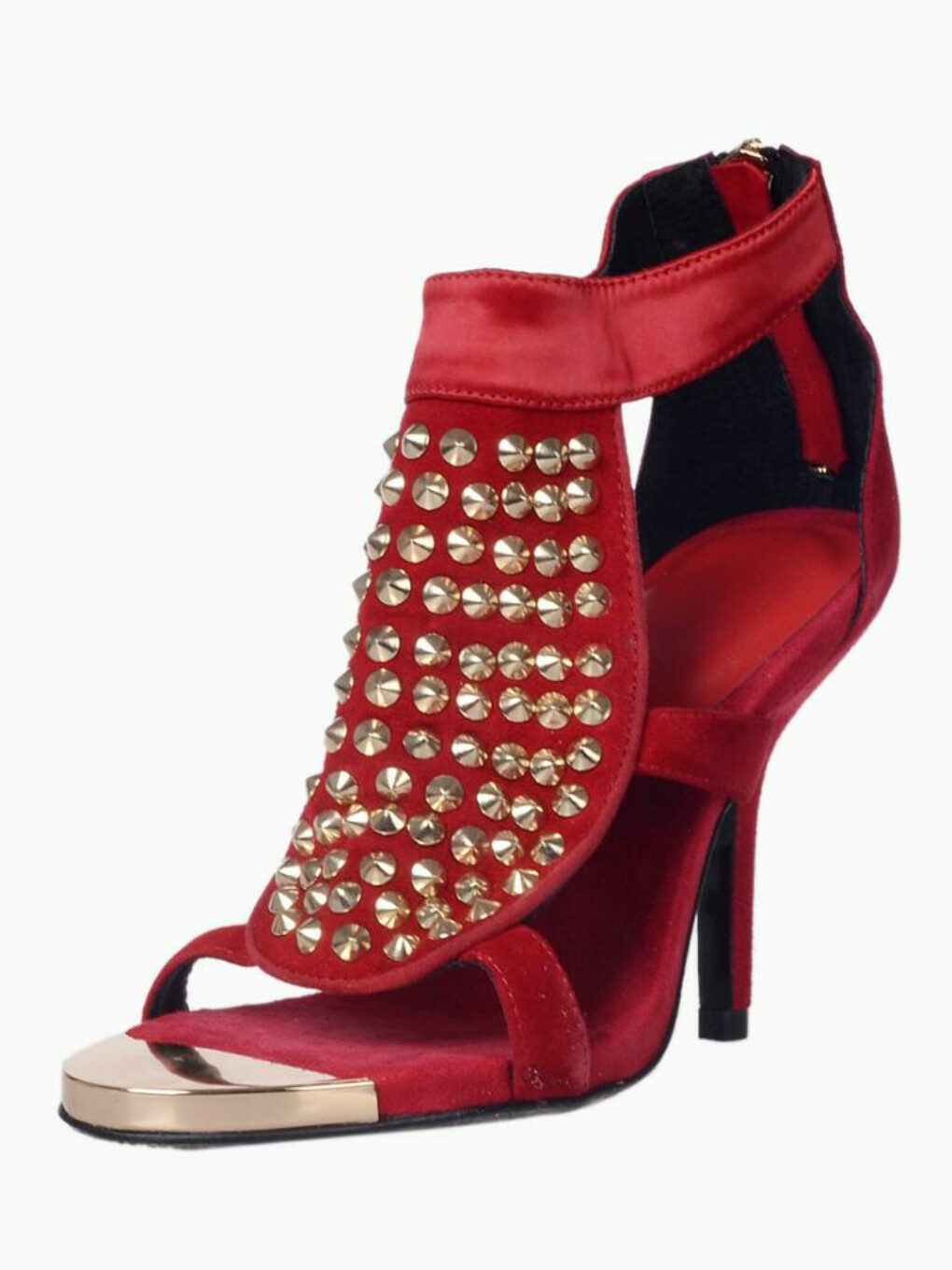 Red Suede Studs Heeled Sandals - Choies.com