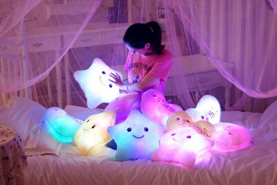 Luminous Pillow Star Moon Plush Pillow Cushion Colorful Glowing Pillow — Luxenmart Up to 80% Off, All For You