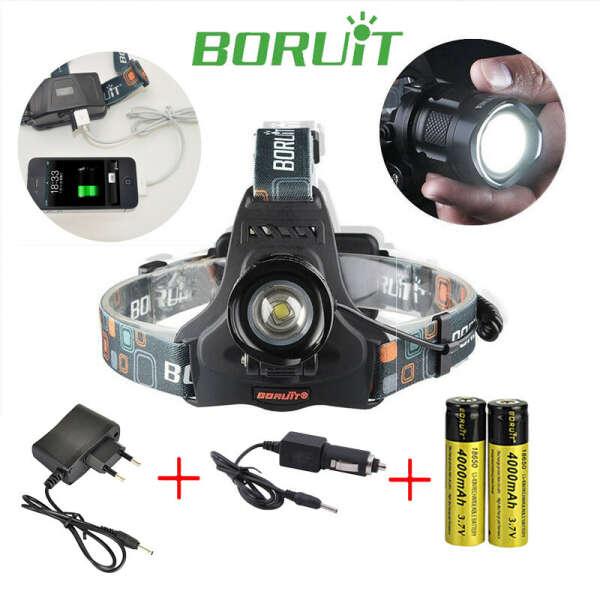 BORUIT RJ-2157 Cree XM-L2 LED Rechargeable Zoomable Flashlight Head Light