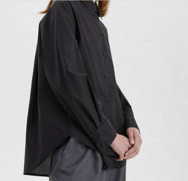 Рубашка свободного кроя с защипами, чёрный