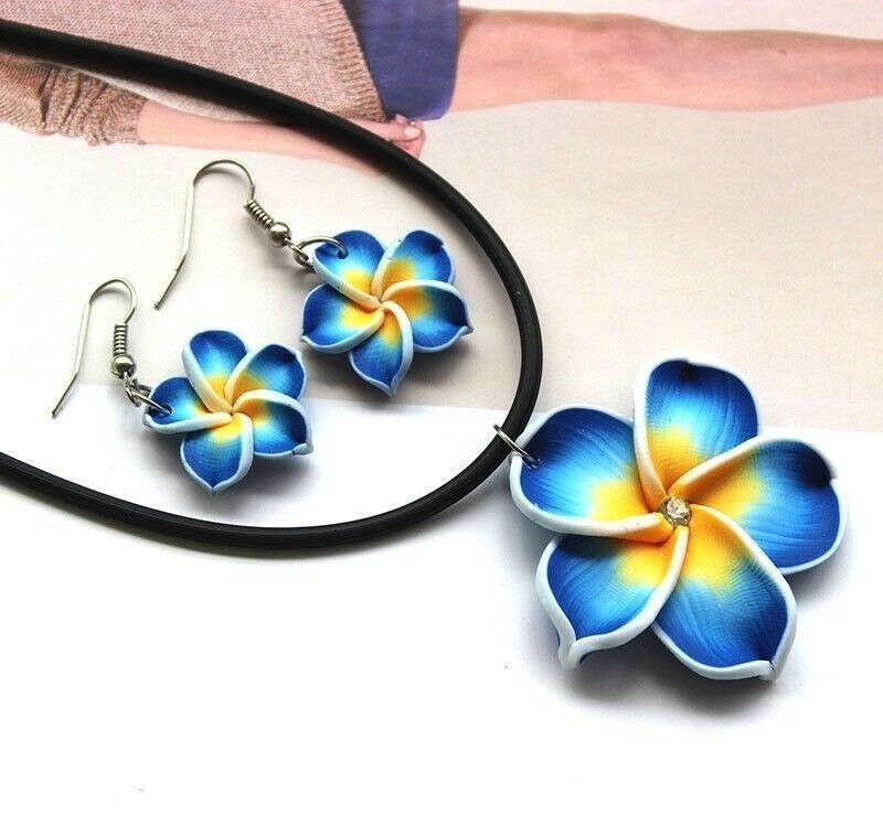 Стильный голубые гавайи цветы кристалл полимерной глины серьги ожерелье комплект купить на AliExpress