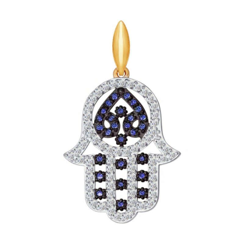 Подвеска мусульманская из золота с синими фианитами арт. 034819